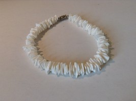 White Stone Shard Anklet Bracelet Screw Clasp Natural
