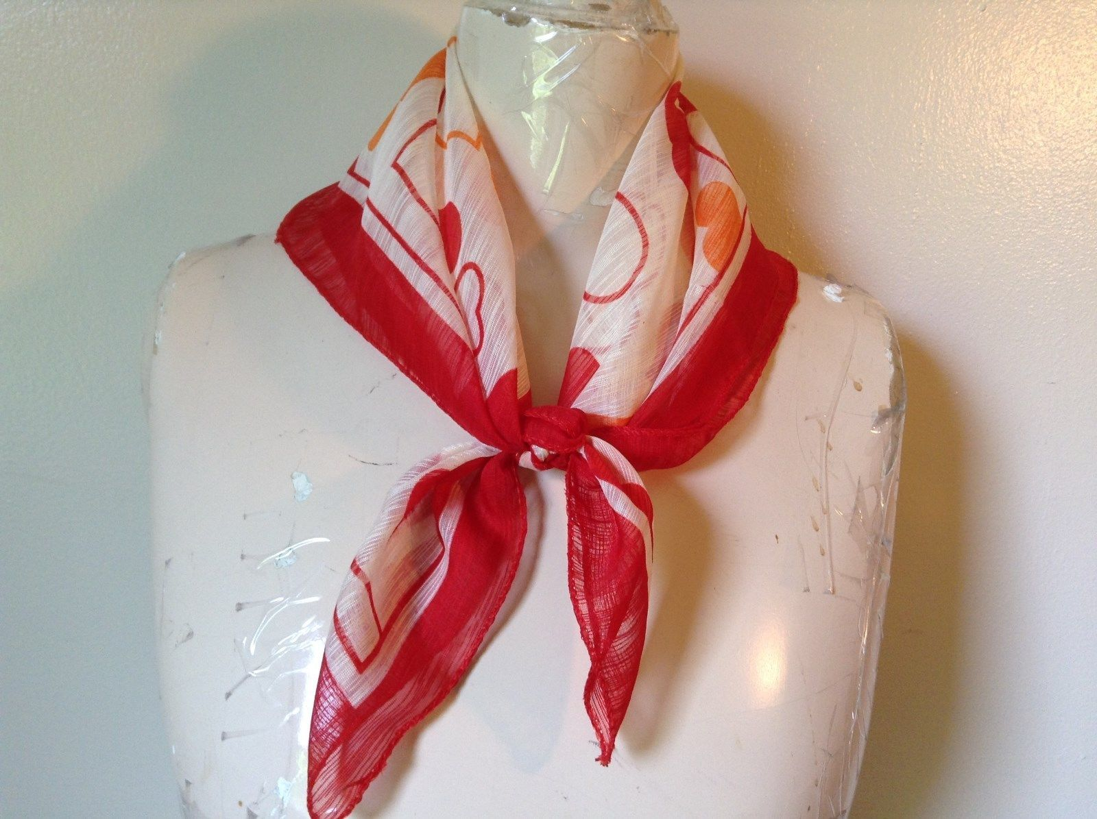 White Square Scarf with Red and Orange Hearts Red Outline Measurements Below