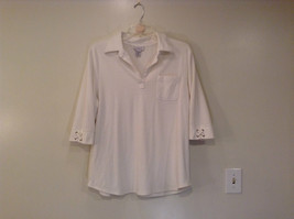 White Stretch V Neck Top Avenue Three Quarter Length Sleeves Size 18 to 20