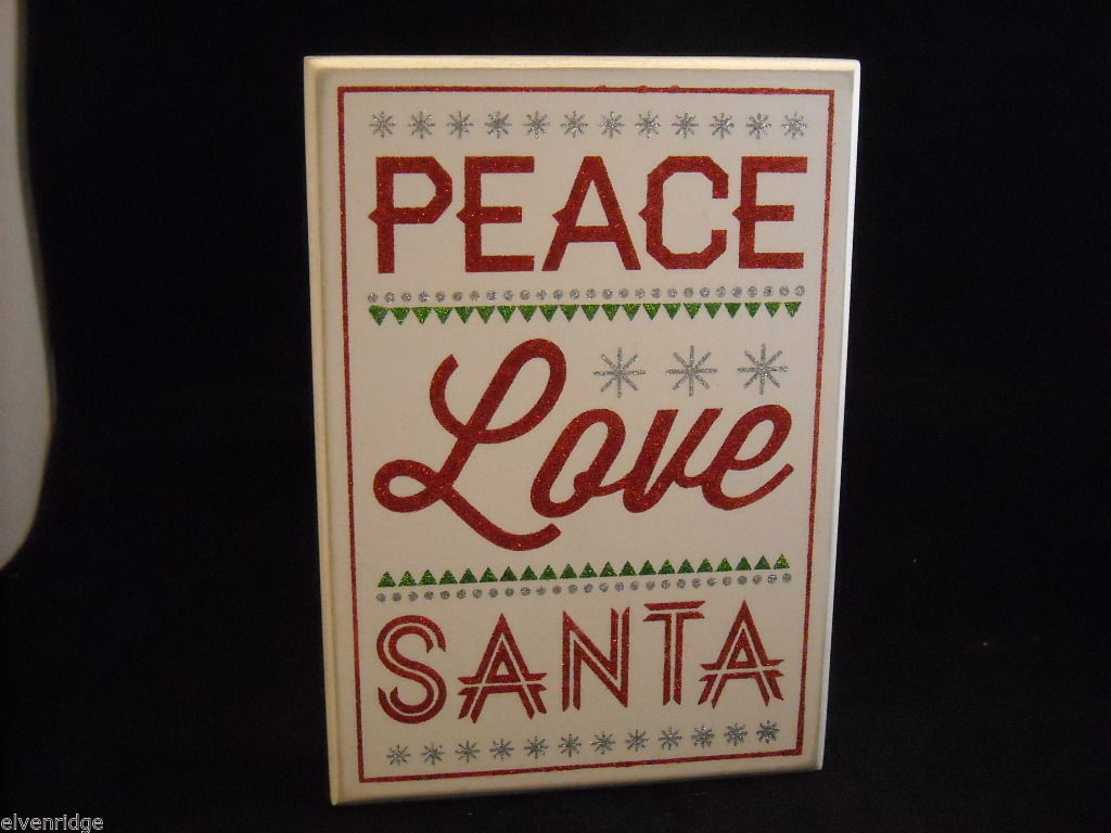 "White Wooden Box Sign ""Peace Love Santa"" in Red Glitter Christmas Decor"