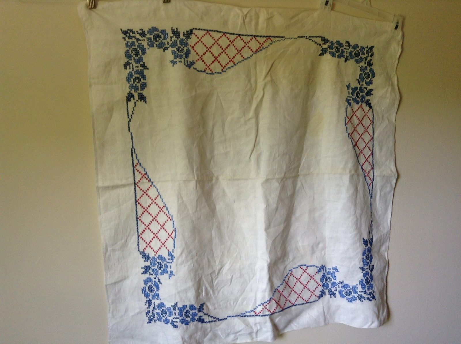 White Tablecloth Vintage Blue Red Hand Stitching Design 35 Inches by 35 Inches