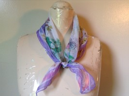 White With Purple Border Square Scarf and Many Different Colored Flowers