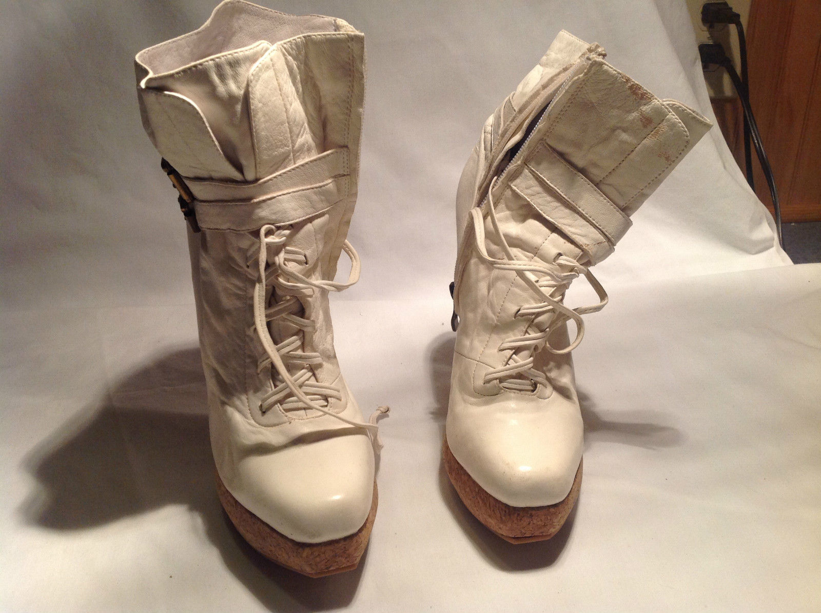 White Tan Plomo High Heel Boots No Given Size Rubber Sole Measurements Below