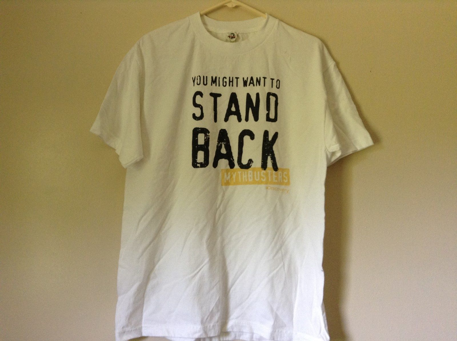 White Mythbusters Discovery You Might Want to Stand Back T Shirt Size Large
