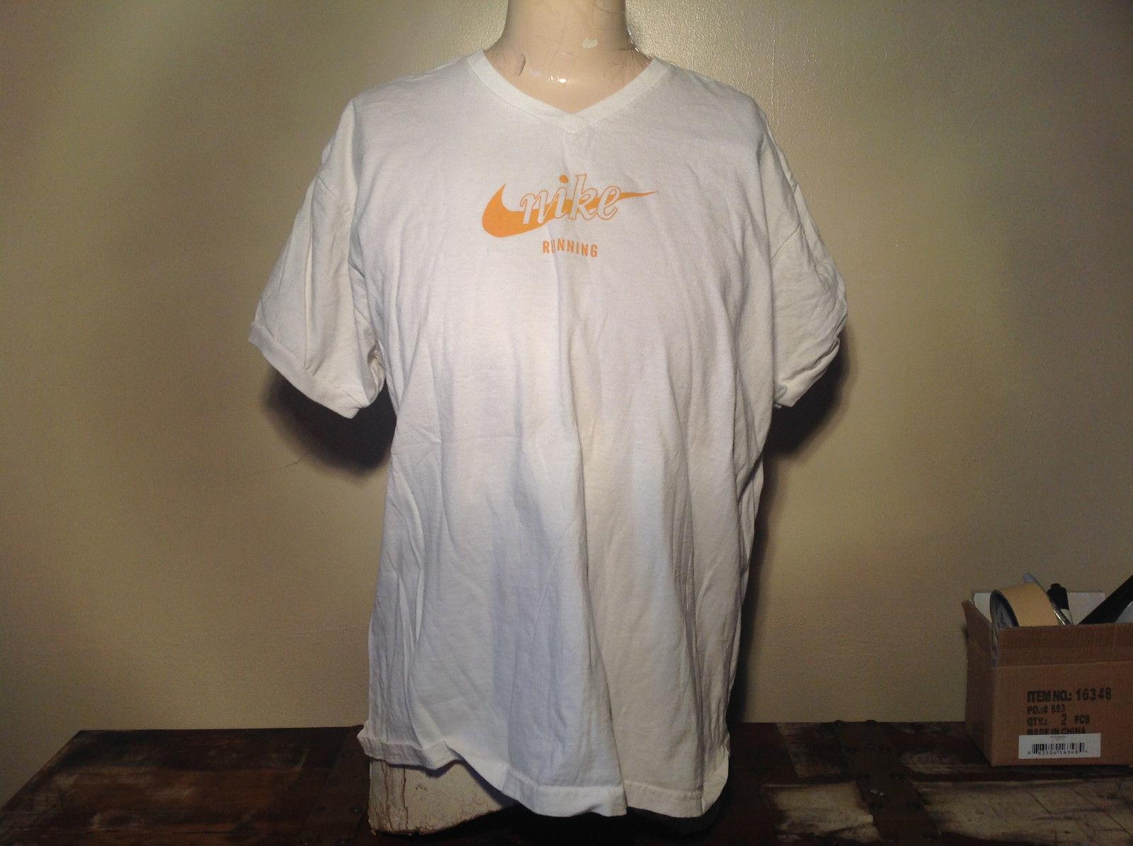 White Nike V Neck 100 Percent Cotton T-Shirt Size XL 16 to 18