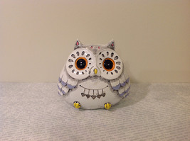 White Piggy Bank Owl New Hearts On Front Light Violet Feathers image 1