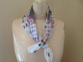 White Pink Chains and Polka Dot Square Scarf Light Weight Material Hanfei