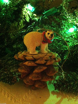 White Polar Bear on Red Pine cone - Christmas Tree Ornament