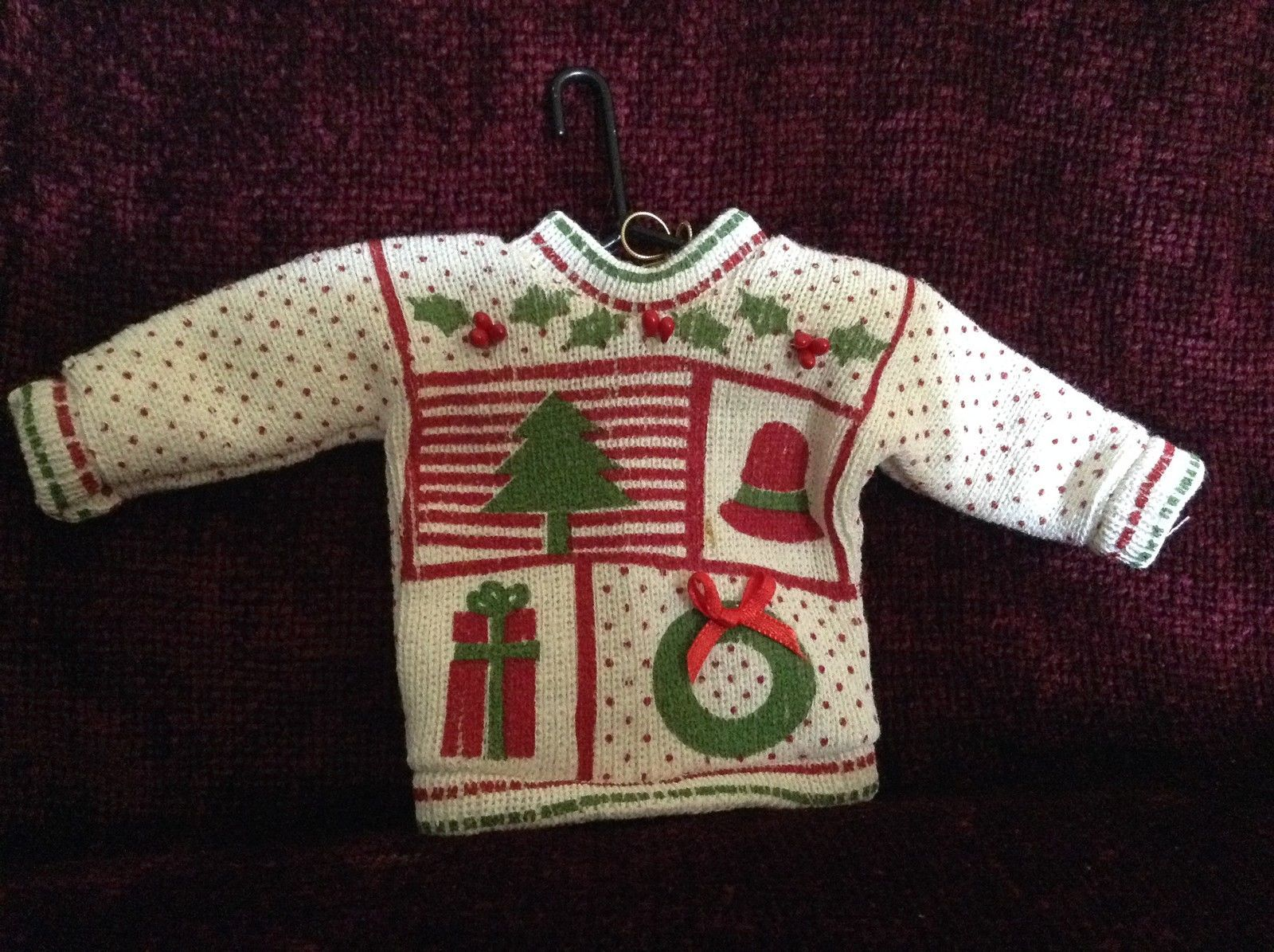 White Polka Dot Poseable Ugly Sweater Ornament Pretty Christmas Theme on Front