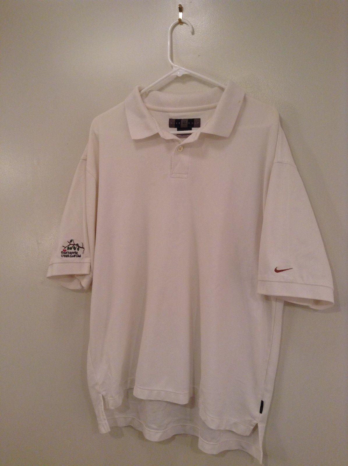 White Nike Golf Polo Shirt Embroidered Thornapple Creek Golf Club Size XL