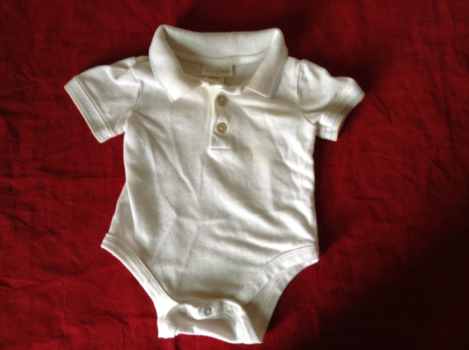 White One piece w  Collar Light Blue and Beige Accent by Lullaby Club Size 3M