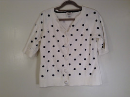White Polka Dot Short Sleeve Sweater Size M Christopher and Banks Button Front