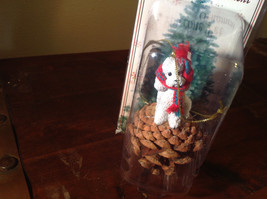 White Poodle with Scarf Real Pine Cone Pet Pine Cone Christmas Ornament