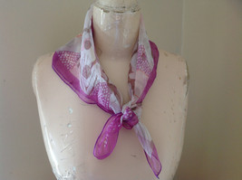 White Purple Orange Bird and Feather Design Square Scarf Light Weight Material