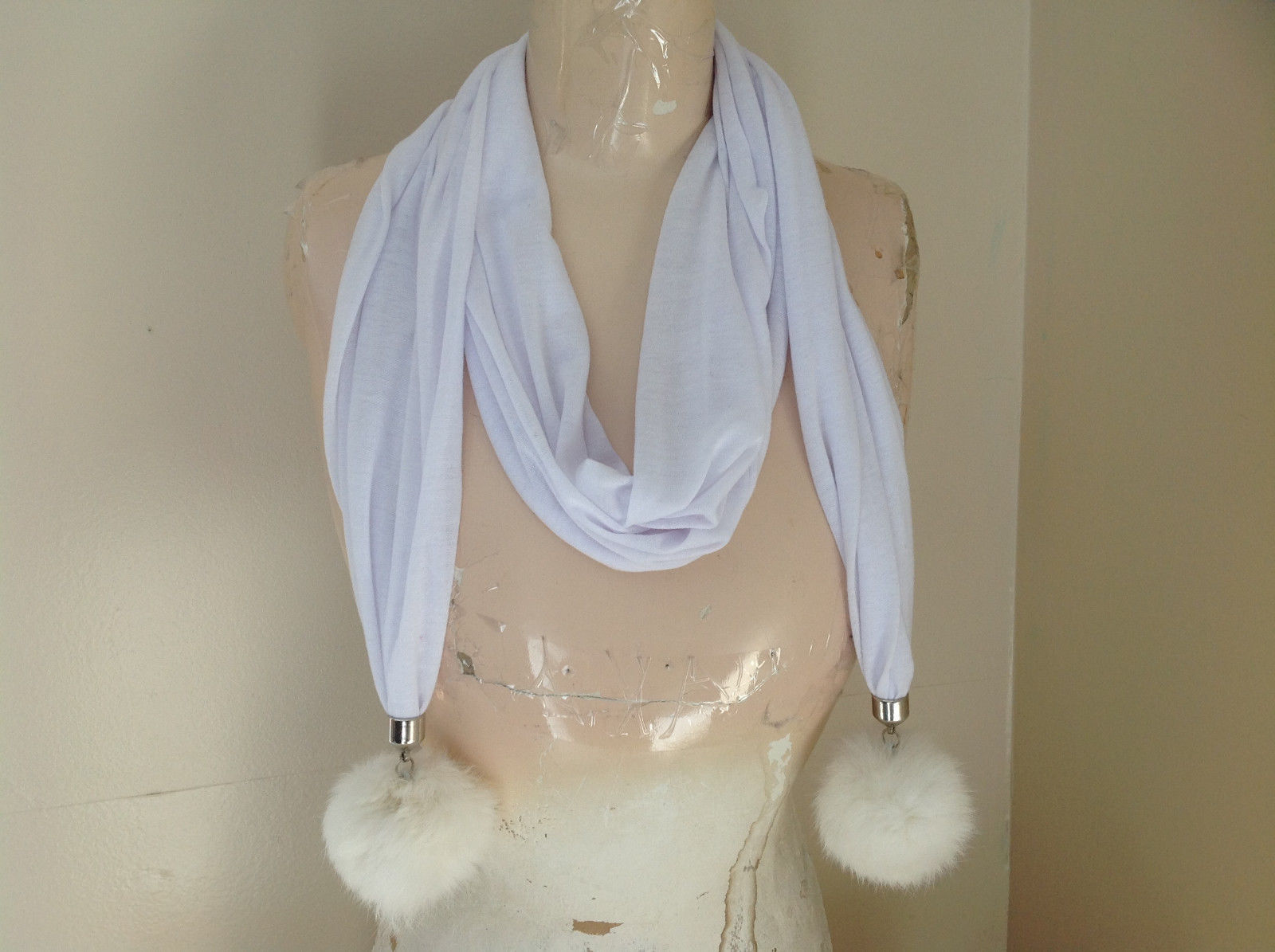 White Scarf with Rabbit Fur pom pom  70 Inches Long Balls 4 inches Wide