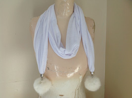 White Scarf with Rabbit Fur pom pom  70 Inches Long Balls 4 inches Wide image 1