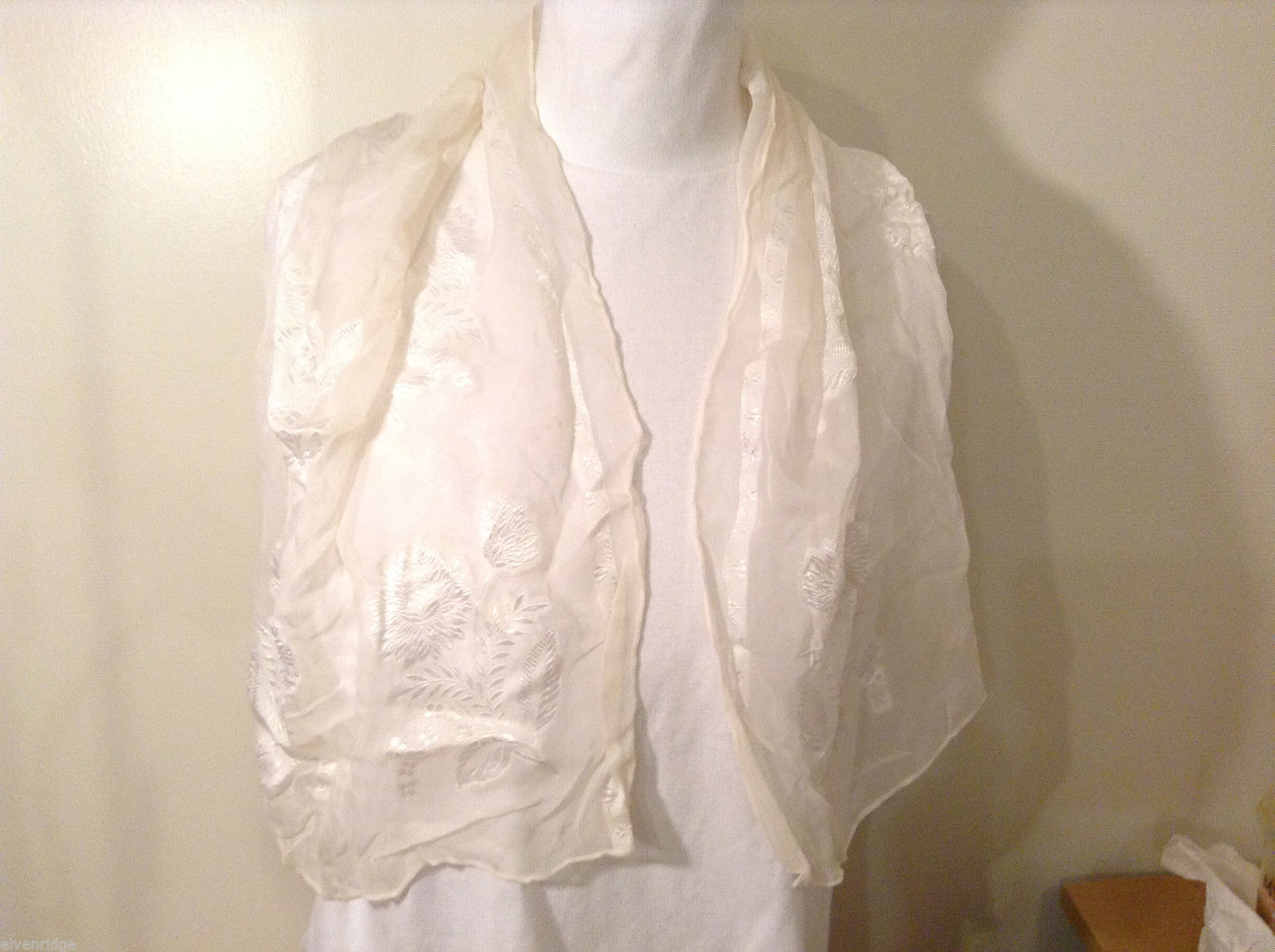 White Sheer Scarf with White Floral Pattern 100% Rayon made in Japan