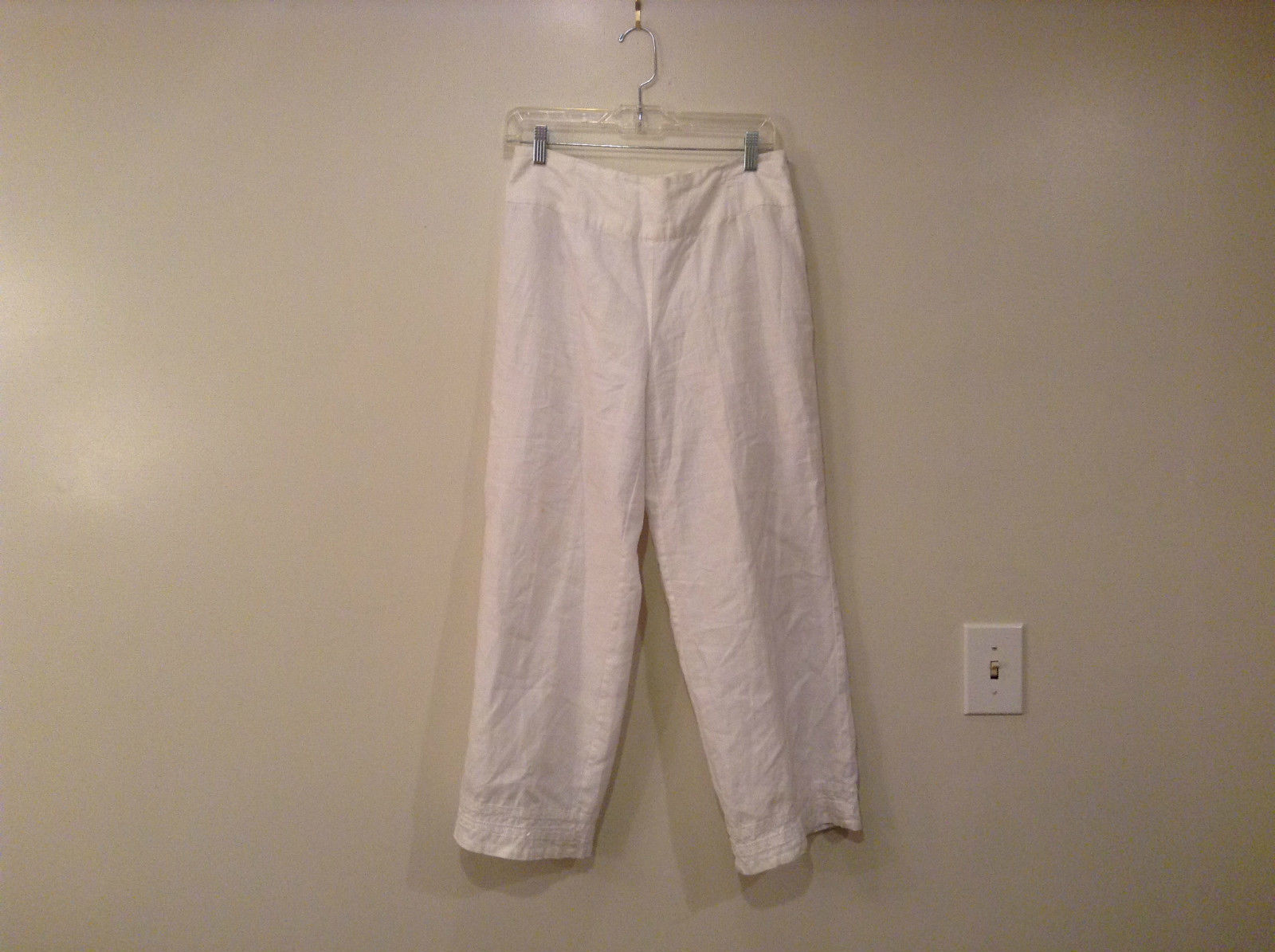 White Richard Malcolm Irish Linen Fully Lined Pants Size 8 Side Zipper Closure