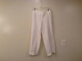 White Richard Malcolm Irish Linen Fully Lined Pants Size 8 Side Zipper Closure