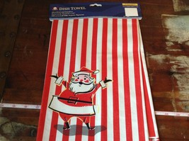 White Red Candy Striped Fiddlers Elbow Dish Towel Santa on Front Made in USA image 1