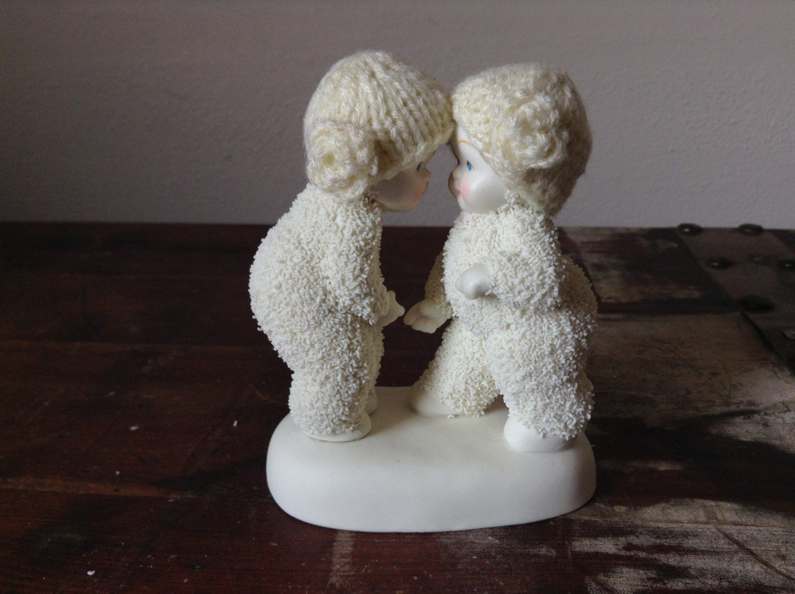 White Porcelain Figurine Boy and Girl Friends w Real Woven Hats snow babies