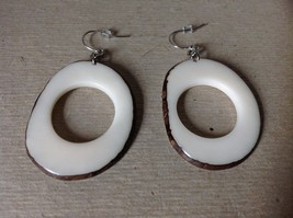 White Round Black Outline Handmade Dyed Tagua Dangling Earrings