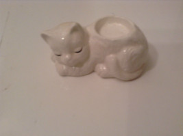 White Sleeping Cat Ceramic Candle Holder Four Inches Long - $34.64