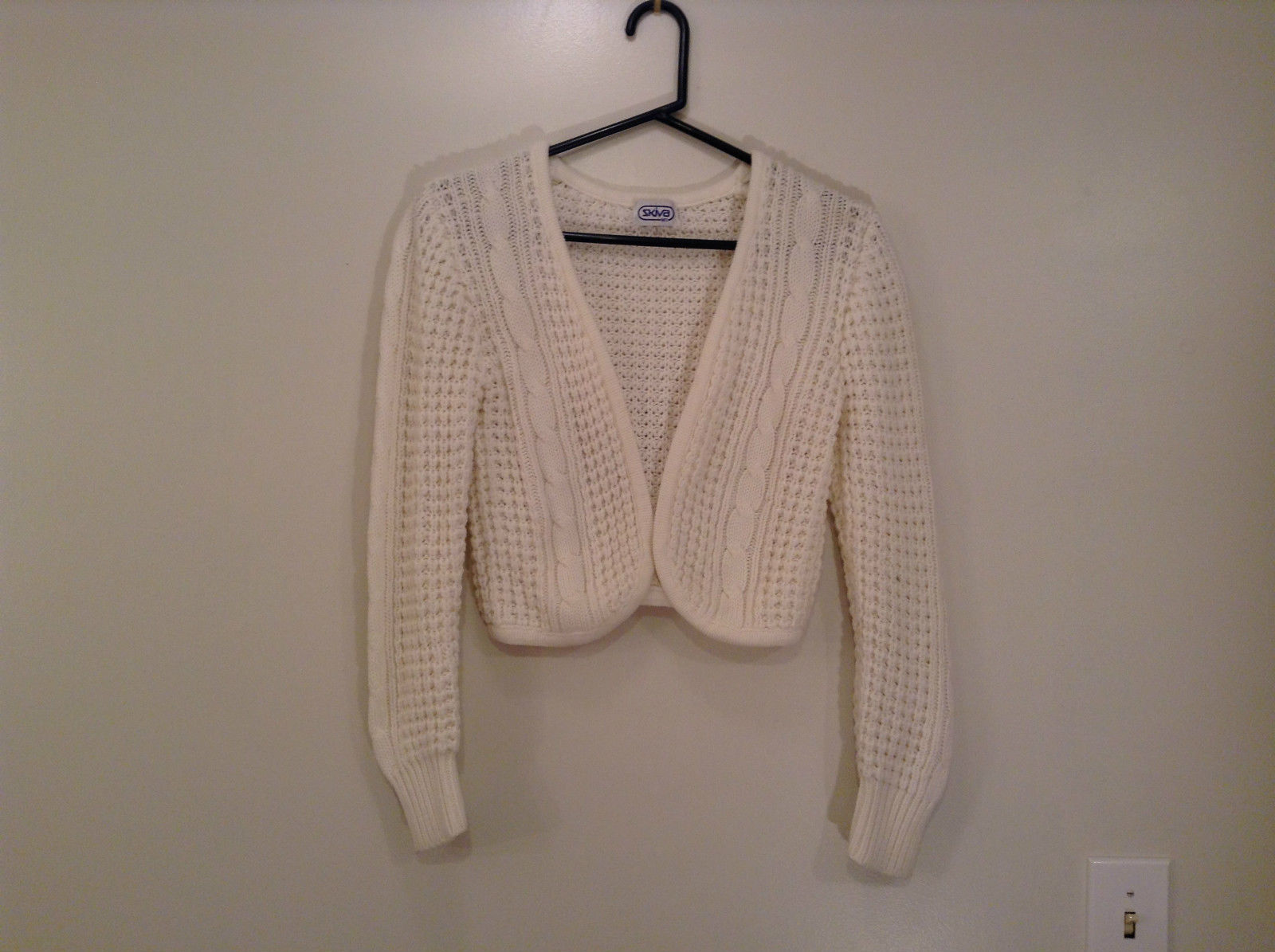 White SKIVA Knitted Bolero Sweater No Closure No Size Tag Measurements Below