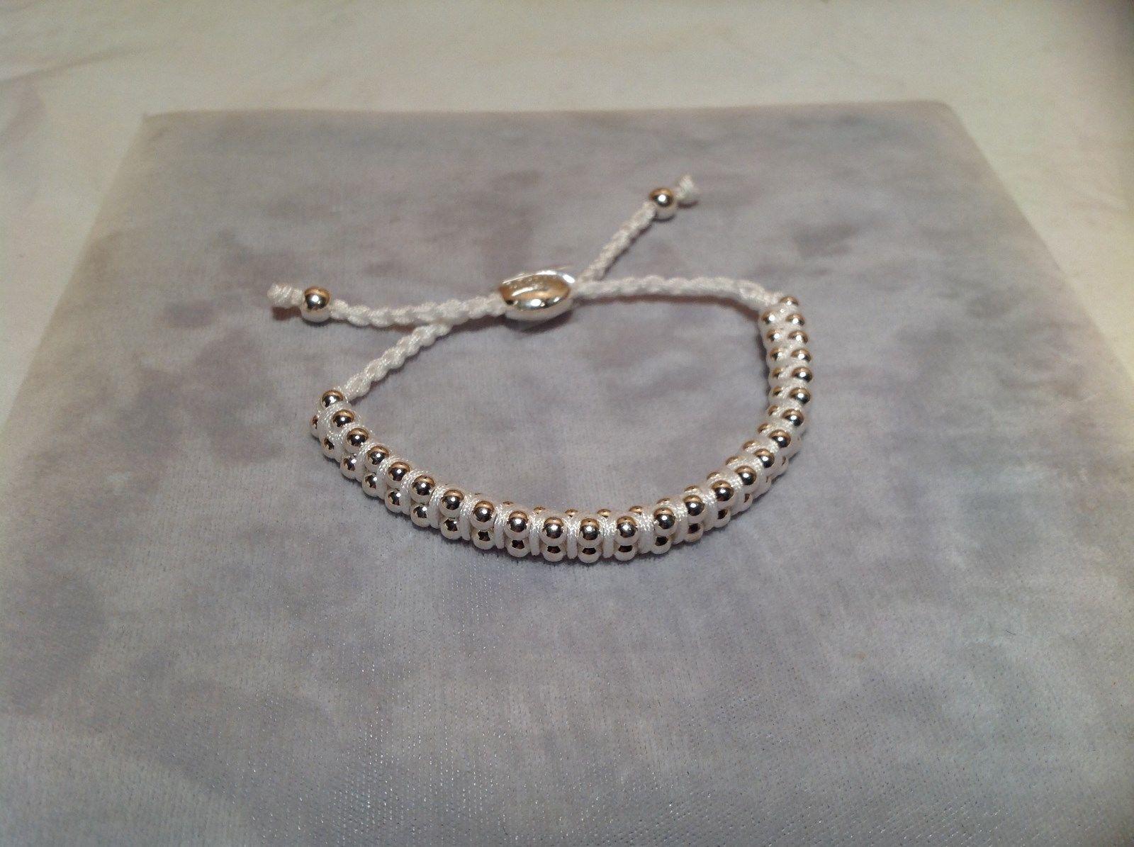 White Small Tied String Bracelet  Sliding Bead for Easy Adjustment