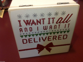 White Wooden Gift Box I want it all Delivered Christmas Decor in glitter