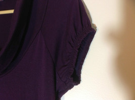 Belle Du Jour dark purple short sleeve dress empire waist size medium image 3