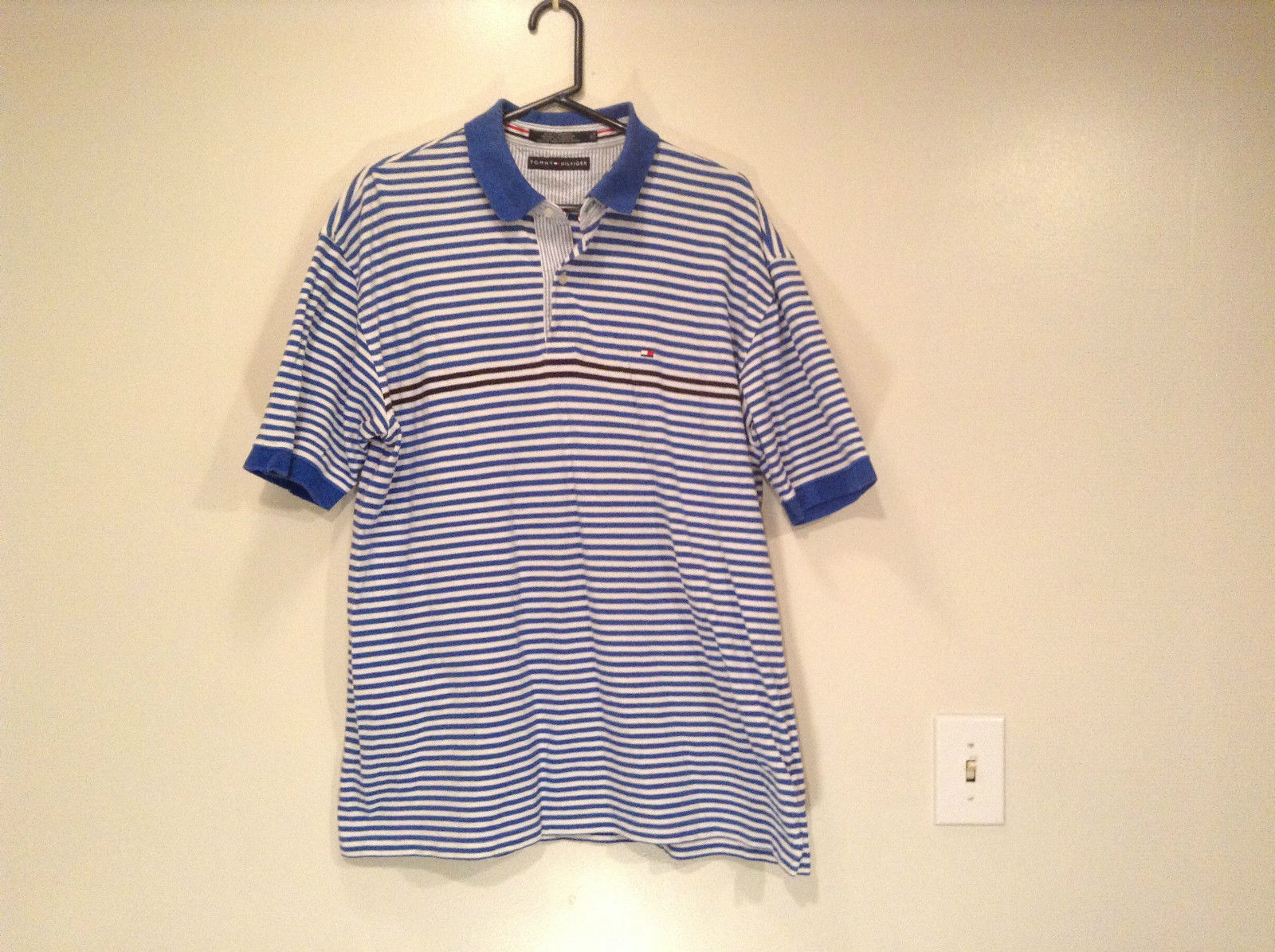 White and Blue Stripes Short Sleeve Tommy Hilfiger Polo Shirt Size XL
