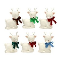 White ceramic reindeer lying down knit scarf color choice dept 56 New 5 inch