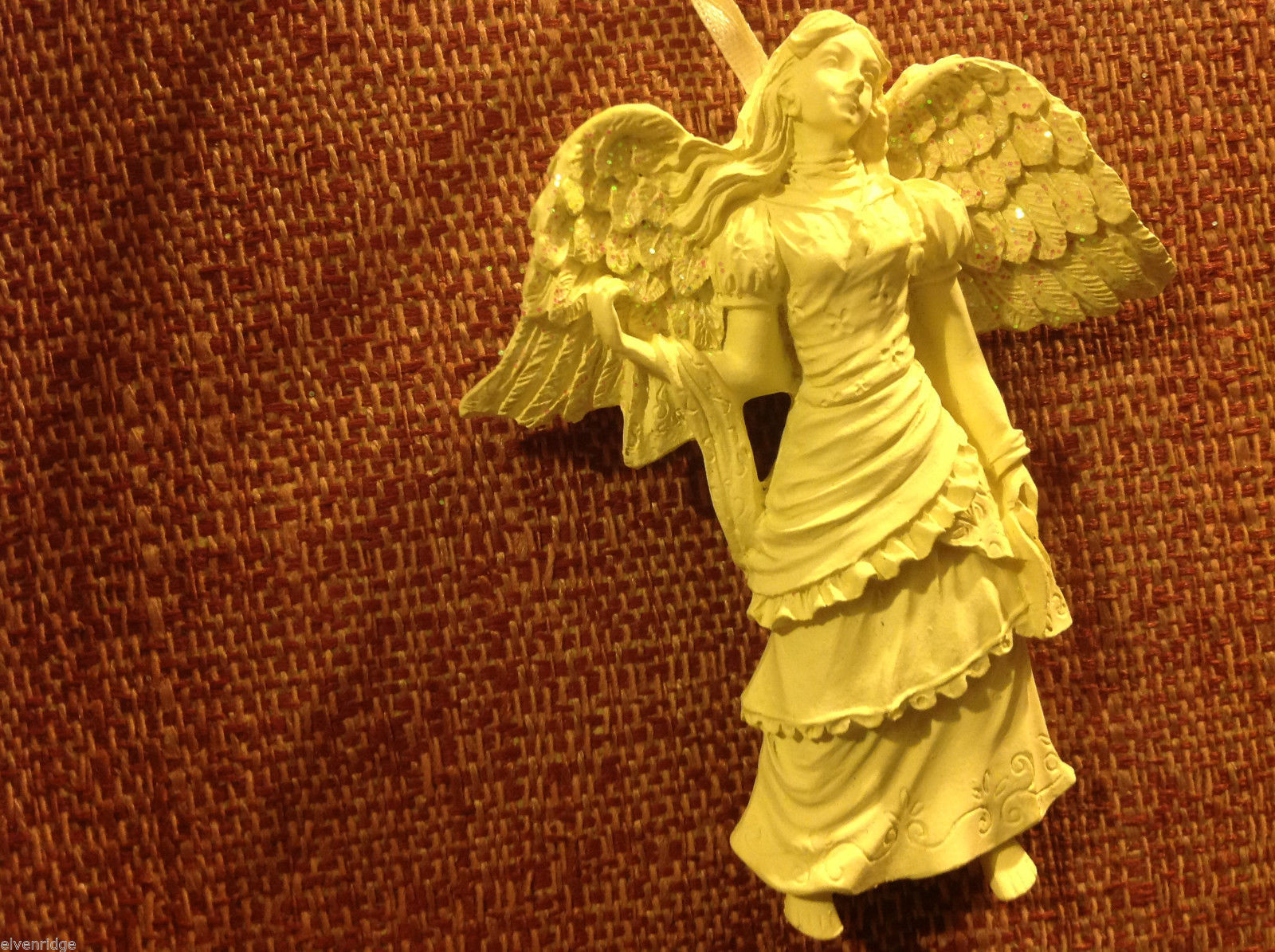 White angel ornament named SIMPLICITY  in organza gift bag new with tags