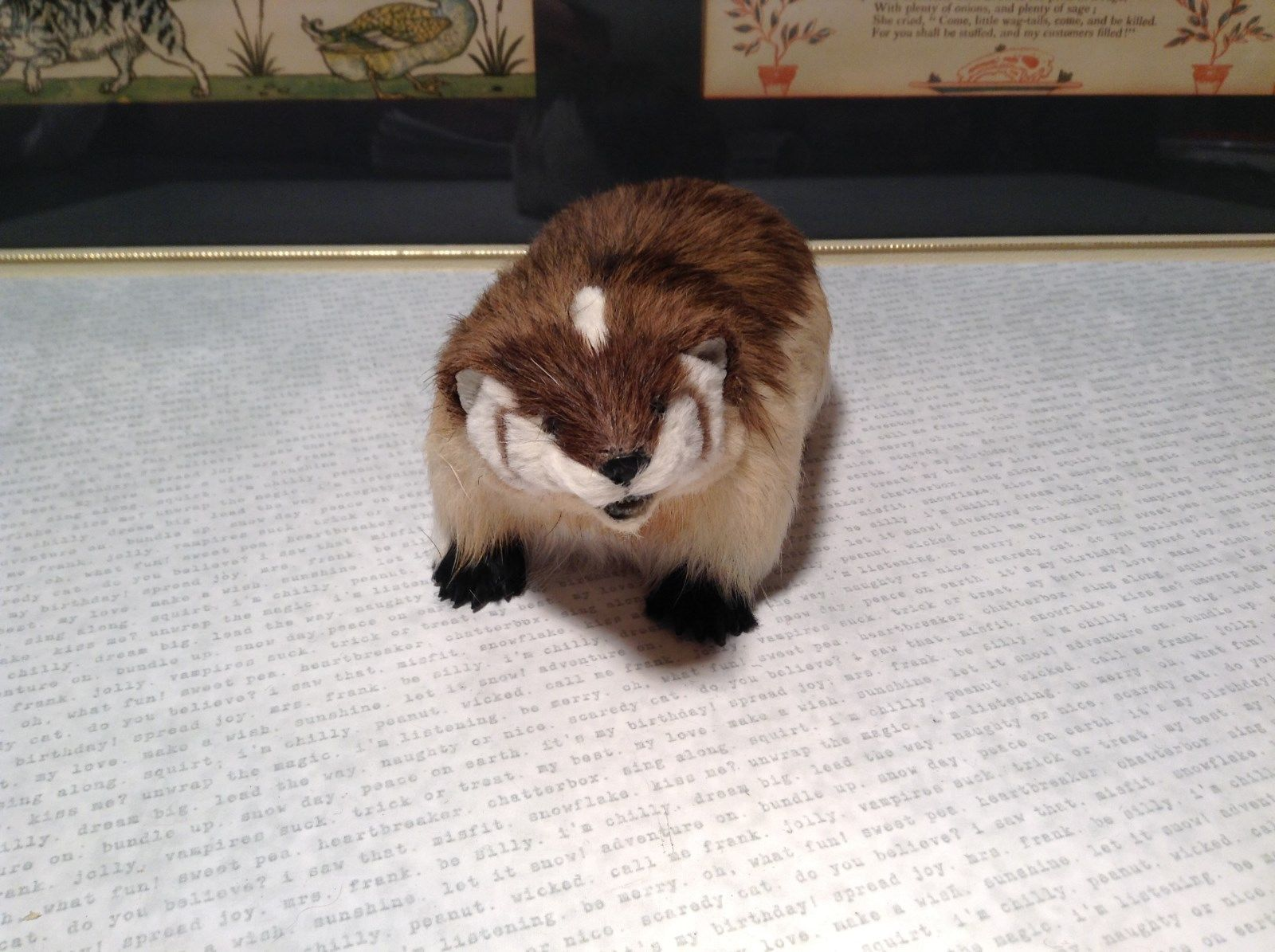 White and Brown Badger Animal Figurine Made with Recycled Rabbit Fur