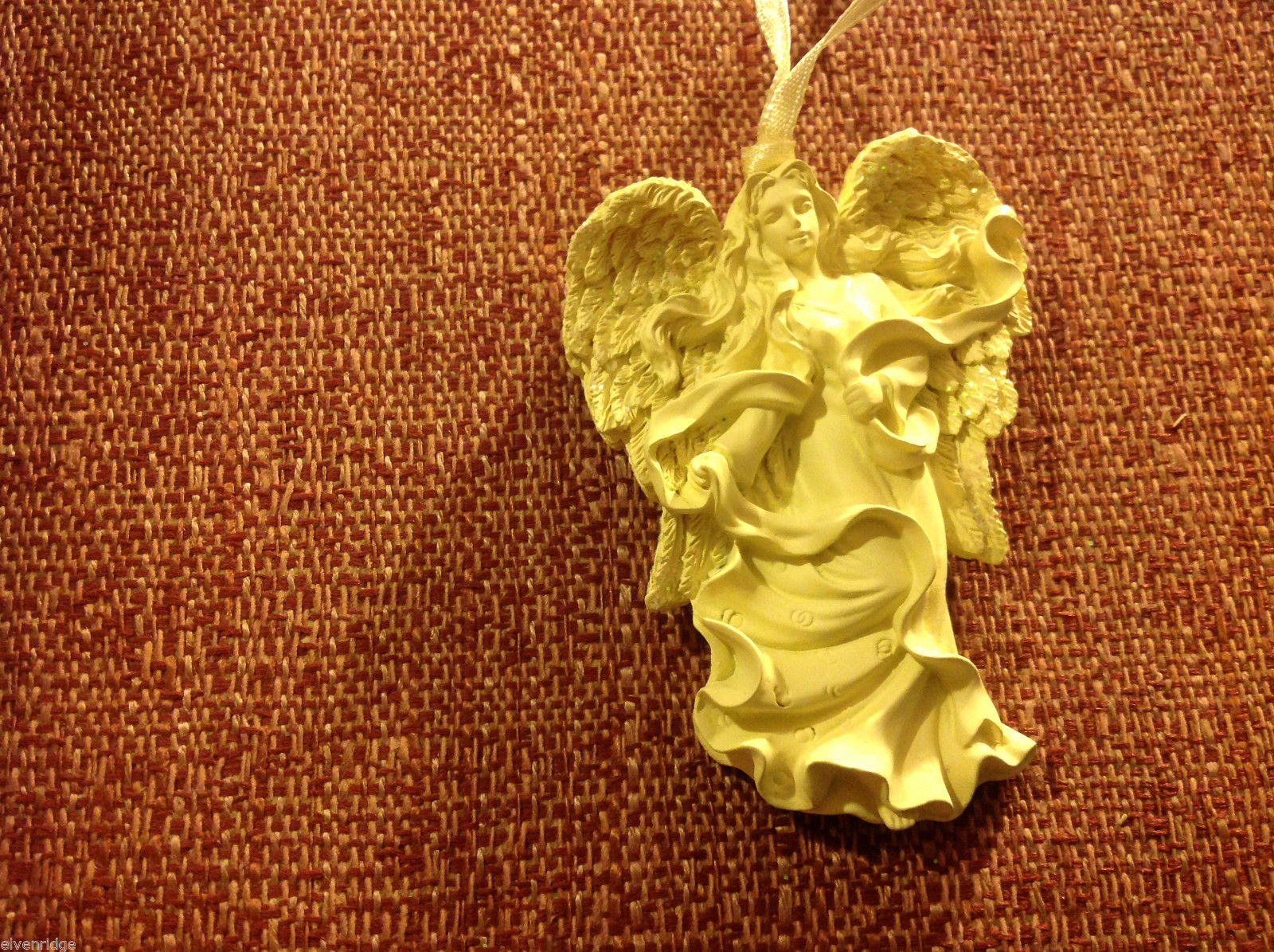 White angel ornament named HEALING in organza gift bag new with tags