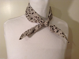 White and Brown Patterned Necktie or Scarf Pleats on one side