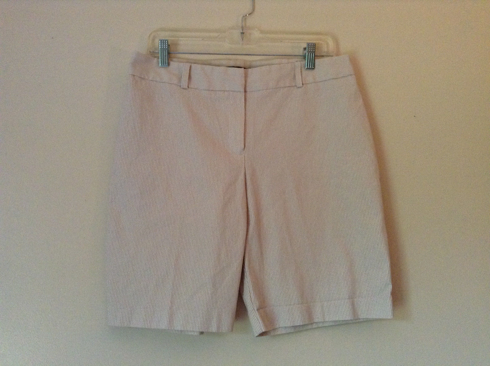 White and Light Brown Striped Shorts by Briggs New York Petite Size 12P