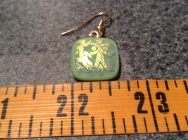 Square Shaped Glass Cream Green Dangling Earrings Metallic Accents image 5