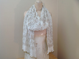 White with Gold Beaded Tassels Indian Style Scrunched Style Scarf Hand Printed
