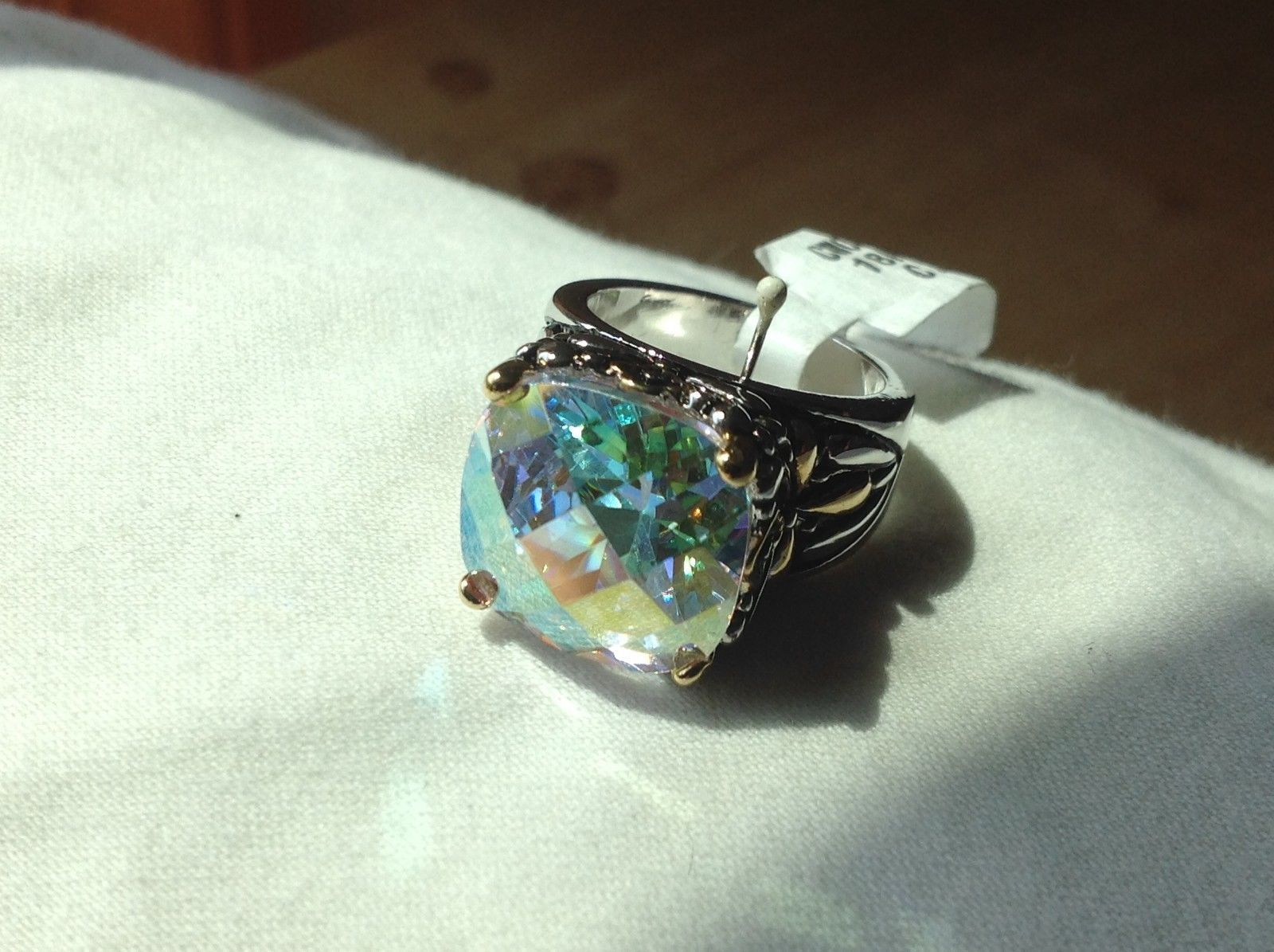 White gold 18K plated ring with giant aurora CZ stone faceted