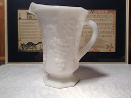 White milk  Glass Vintage Pitcher with Grapes Raised Design
