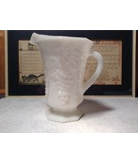 White milk  Glass Vintage Pitcher with Grapes Raised Design - $148.49