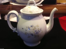 White pitcher with lid from estate made in Austria delicate blue flowers