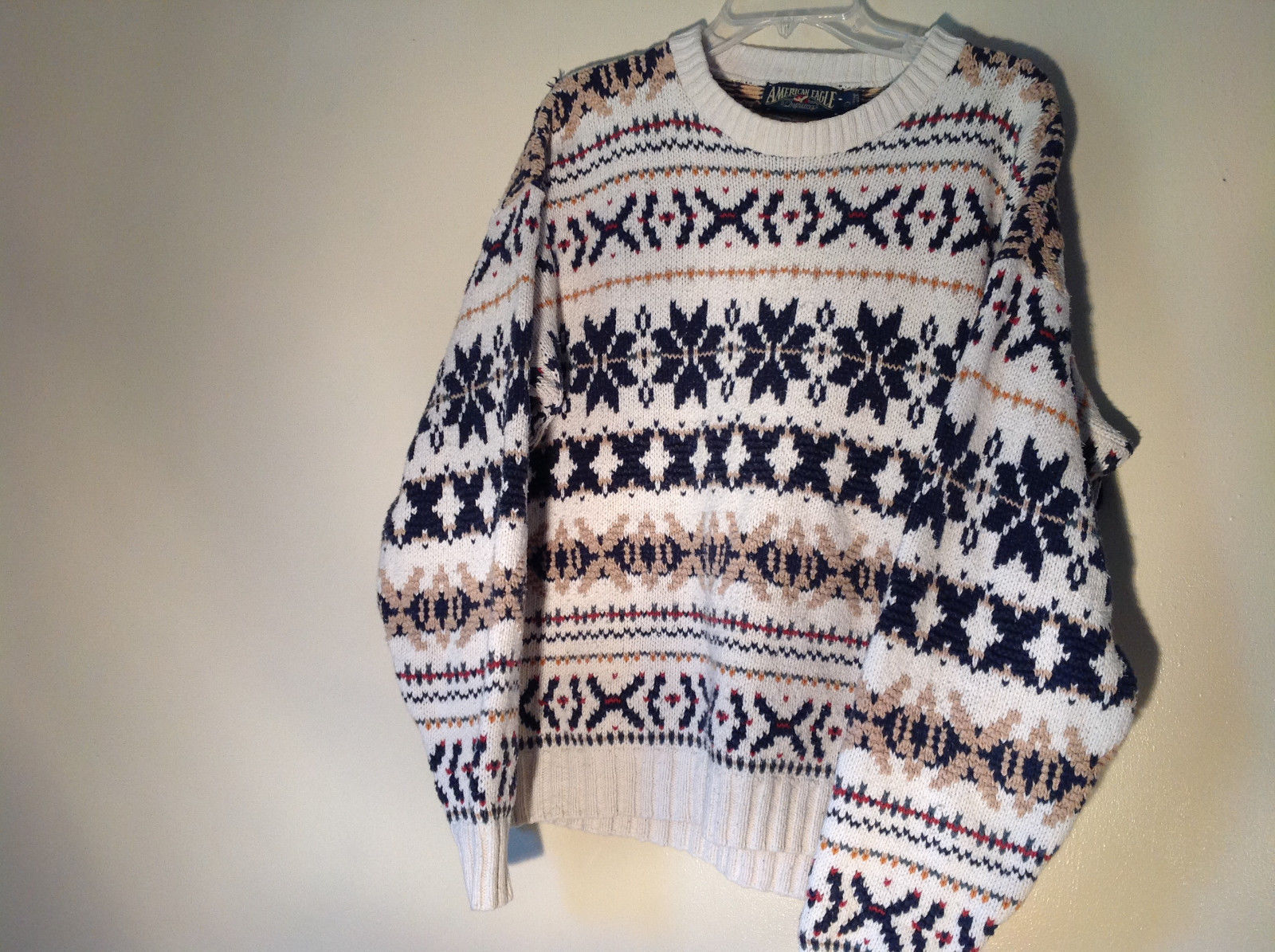 White with Navy Blue Orange Green Tan Patterned Sweater American Eagle Size L