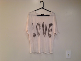 White with LOVE in Black Letters Short Sleeve T Party Top Scoop Wide Neck Size L