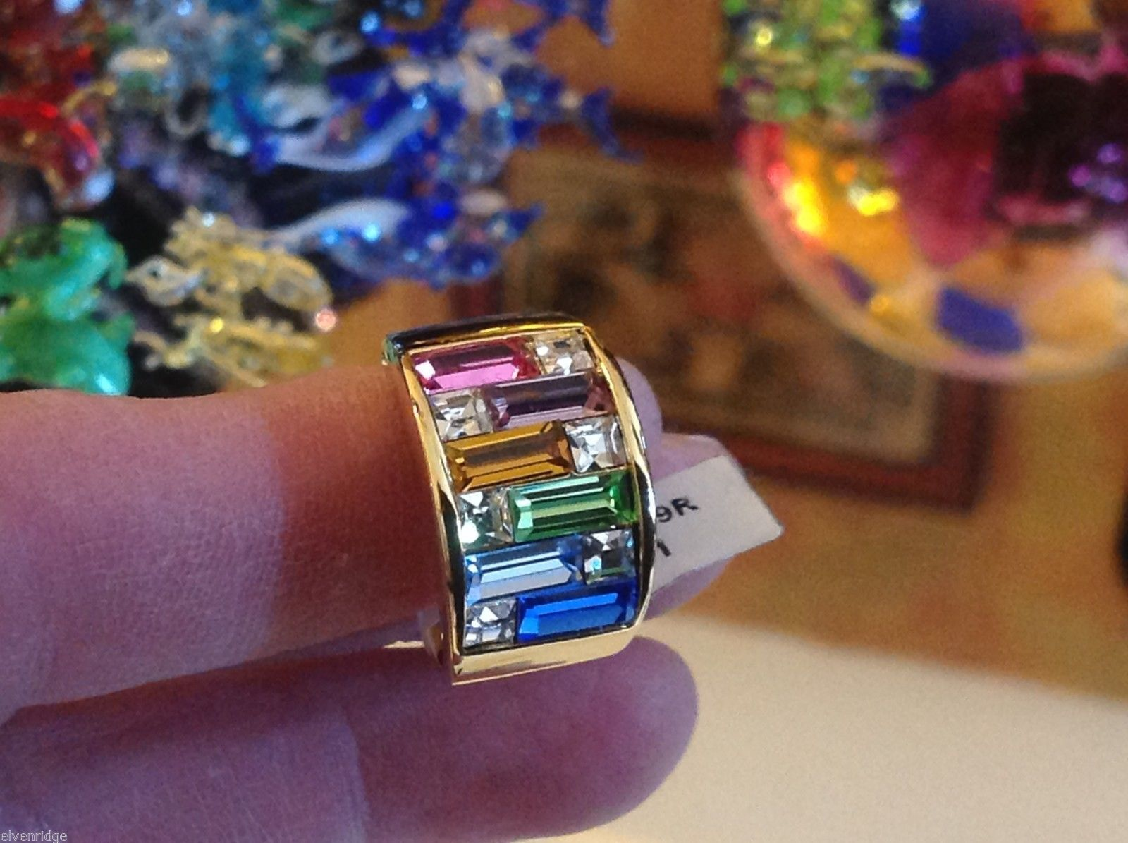 White gold plated ring with multi color CZ emerald cut bars choice size 7 or 8