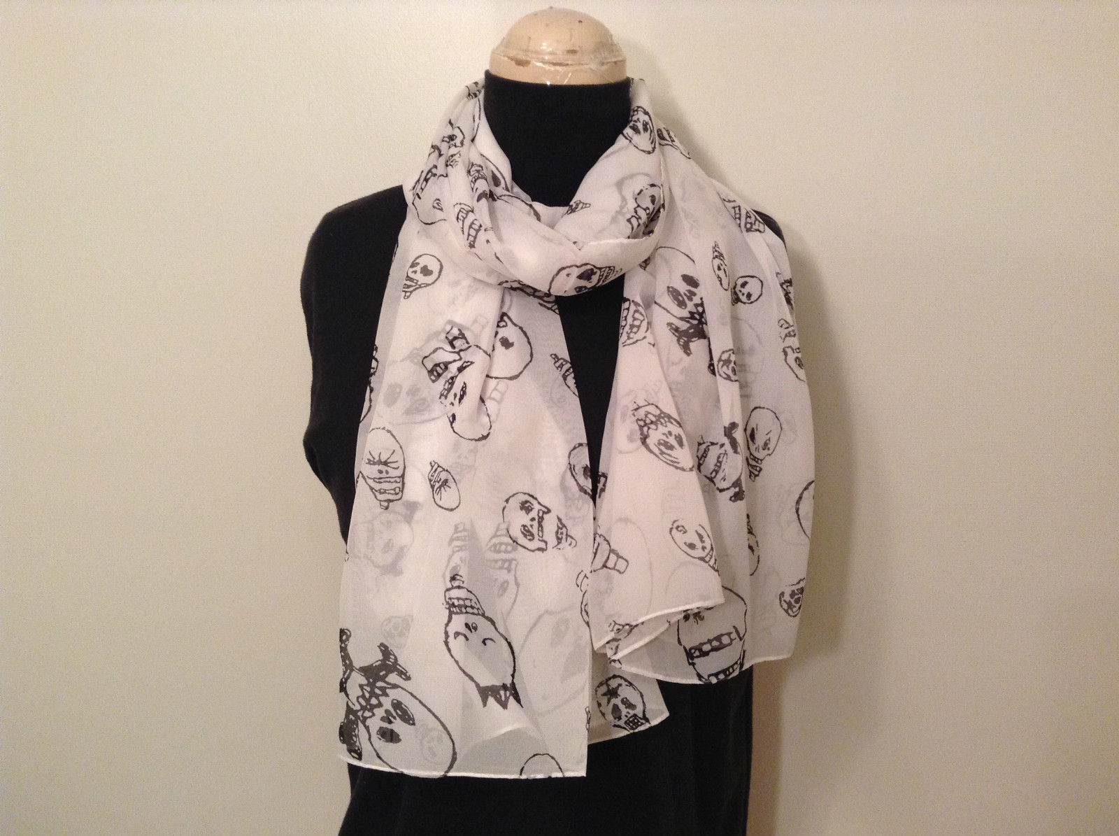 White with Black Skull Pattern 100 Percent Polyester Scarf NEW