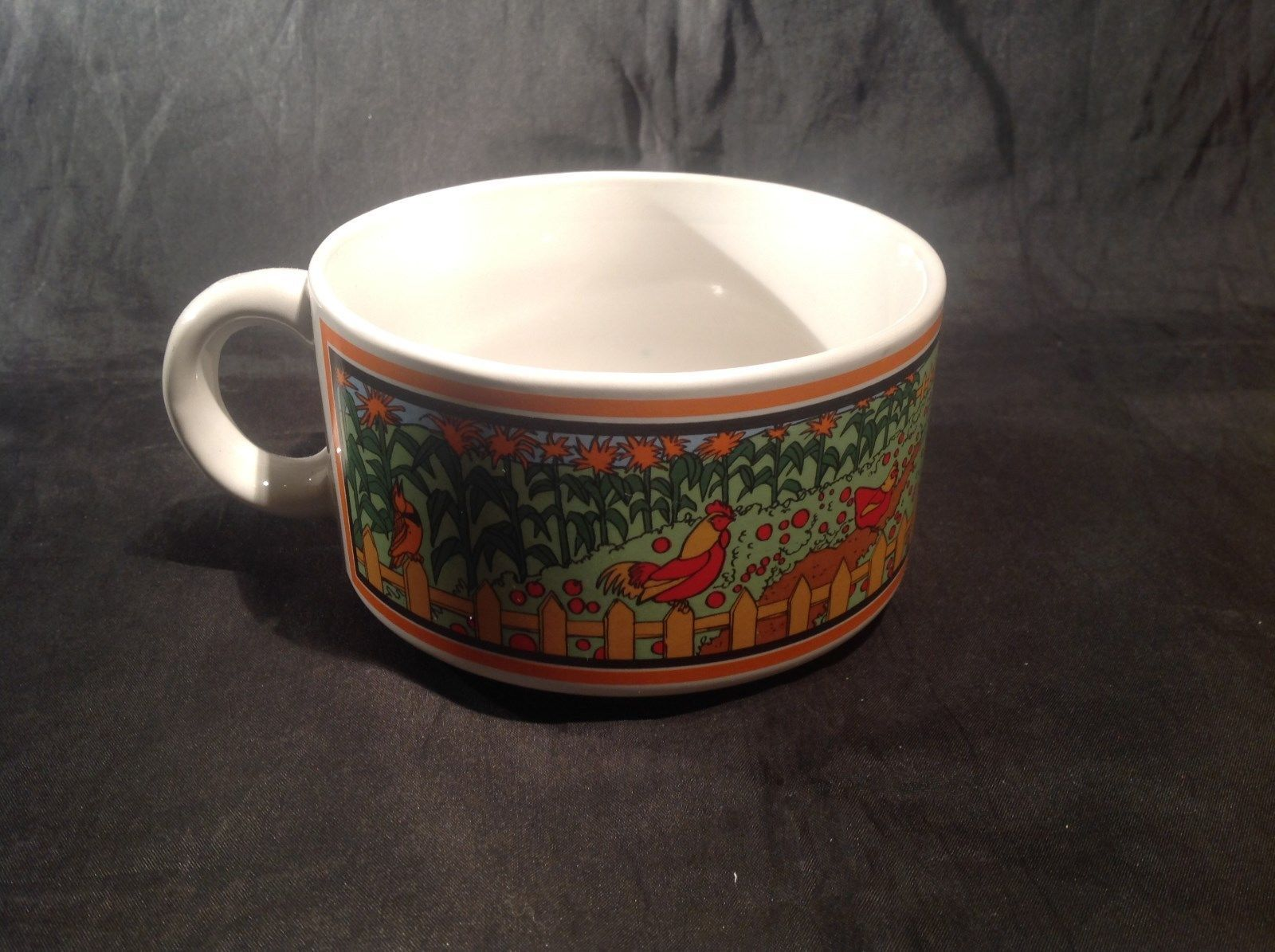 Wide Ceramic Cup / Soup Bowl with Garden Display on Sides Small Handle