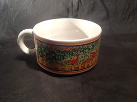 Wide Ceramic Cup / Soup Bowl with Garden Display on Sides Small Handle - $39.99